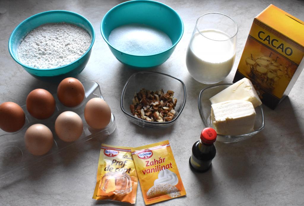 ingrediente pentru negresa pufoasa cu ciocolata si nuci
