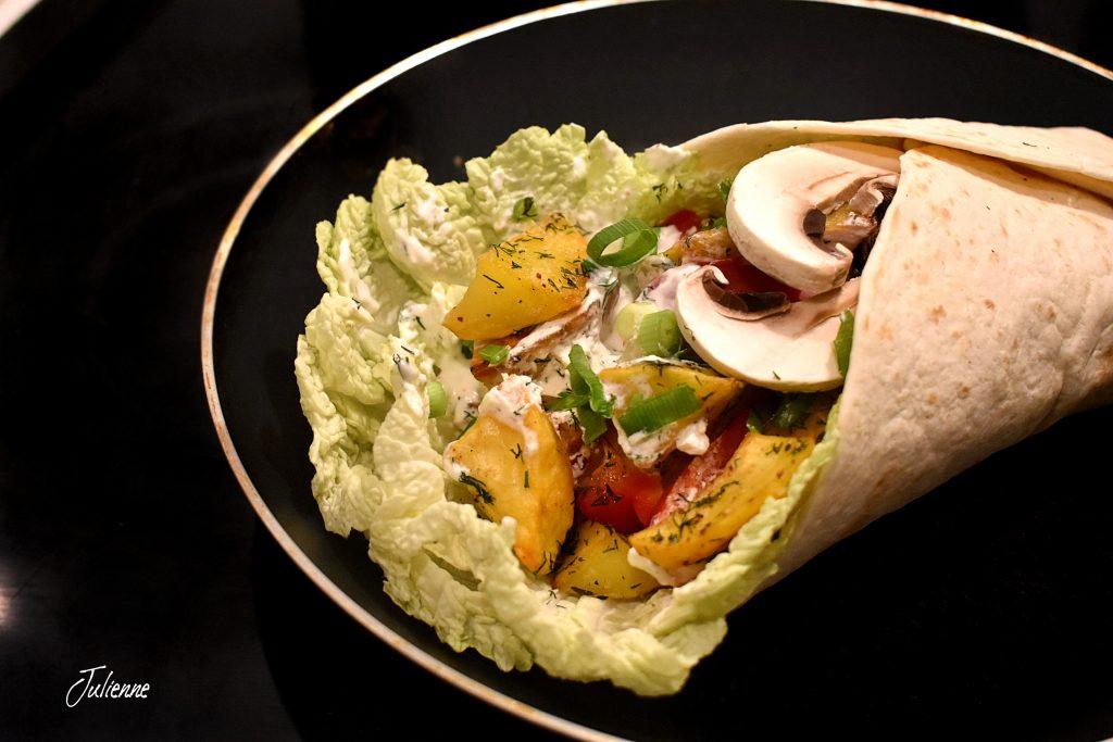 Tortilla cu legume preparata